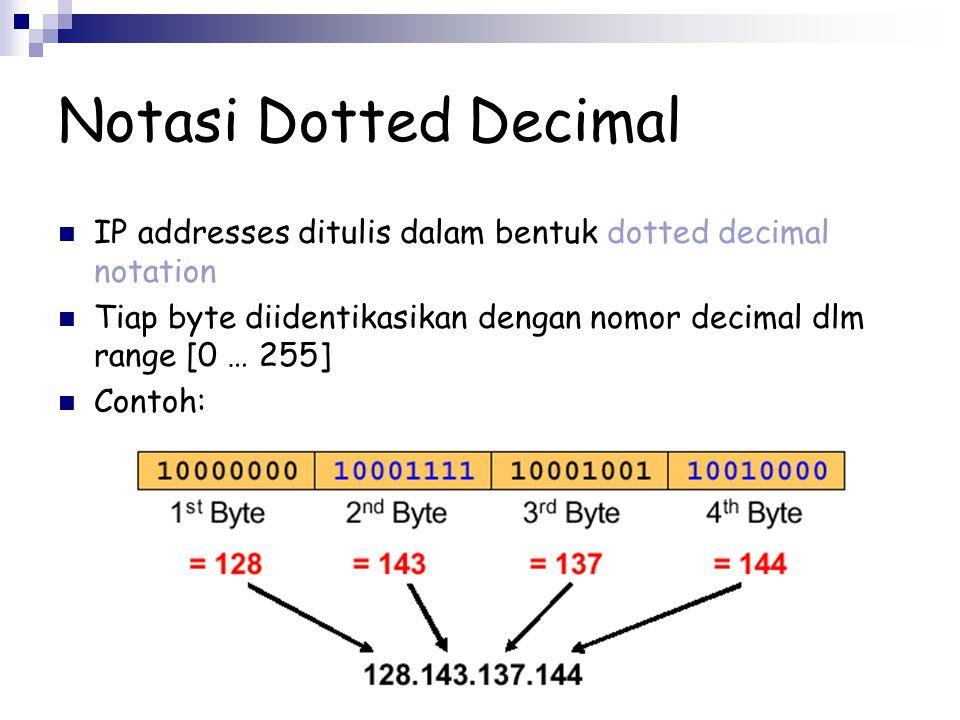Notasi Dotted Decimal IP addresses ditulis dalam bentuk dotted decimal notation. Tiap byte diidentikasikan dengan nomor decimal dlm range [0 … 255]